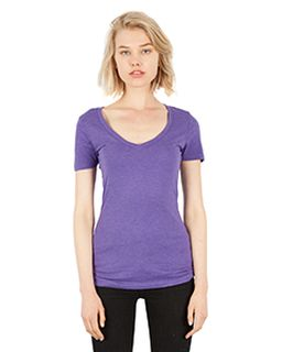 Ladies 4.6 Oz. Tri-Blend Deep V-Neck T-Shirt-Simplex Apparel