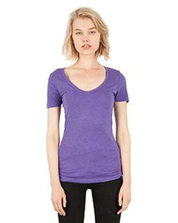 Ladies 4.6 Oz. Tri-Blend Deep V-Neck T-Shirt-Simplex Apparel