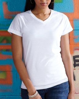 Ladies Polyester V-Neck T-Shirt-
