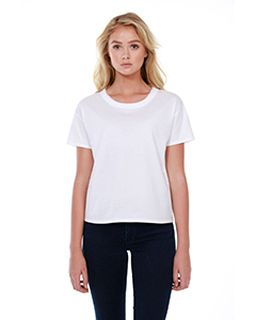 Ladies 3.5 Oz., 100% Cotton Raw-Neck Boxy T-Shirt-StarTee