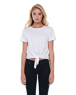 Ladies Cotton Tie Front T-Shirt-