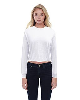 Ladies Boyfriend Long Sleeve Crop T-Shirt-StarTee