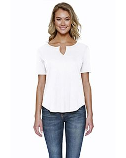 Ladies 4.3 Oz., Cvc Slit V-Neck T-Shirt-StarTee