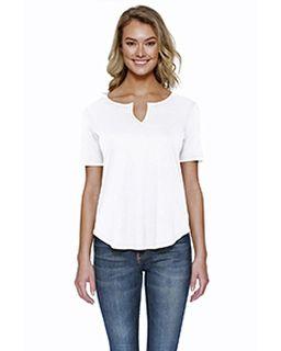Ladies 4.3 Oz., Cvc Slit V-Neck T-Shirt-