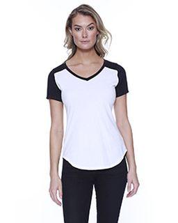 Ladies Cvc Varsity V-Neck T-Shirt