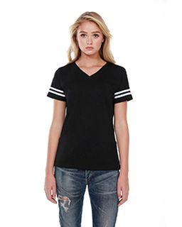 Ladies 4.3 Oz., Cvc Striped Varsity T-Shirt-