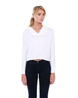 Ladies 4.3 Oz., Cvc Cropped Hoodie T-Shirt-