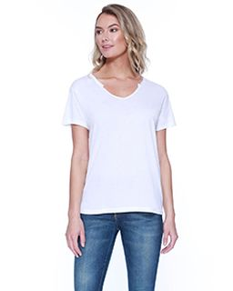 Ladies 3.69 Oz., 50% Cotton / 50% Modal Open V-Neck T-Shirt-