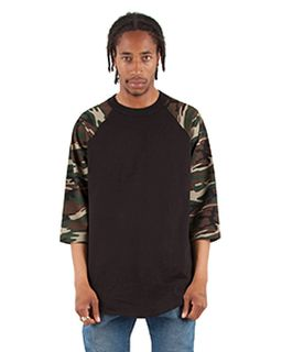 Adult 6 Oz., 3/4-Sleeve Camo Raglan T-Shirt-Shaka Wear