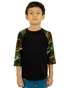 Youth 6 Oz., 3/4-Sleeve Camo Raglan T-Shirt-