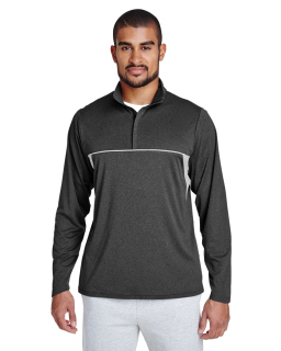 Mens Excel Melange Interlock Performance Quarter-Zip Top-Team 365
