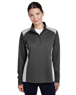 Ladies Excel Melange Interlock Performance Quarter-Zip Top-Team 365