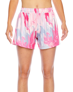 Ladies Tournament Sublimated Pink Swirl Short-