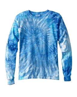 Adult 5.4 Oz., 100&#37<long> Cotton Long-Sleeve Tie-Dyed T-Shirt