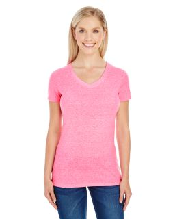 Ladies Triblend Short-Sleeve V-Neck T-Shirt-
