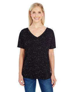 Ladies Triblend Fleck Short-Sleeve V-Neck T-Shirt-