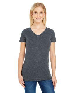 Ladies Vintage Dye Short-Sleeve V-Neck T-Shirt-