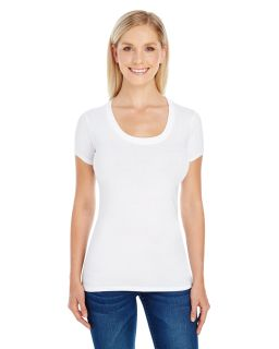 Ladies Spandex Short-Sleeve Scoop Neck T-Shirt'