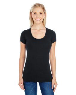 Ladies Spandex Short-Sleeve Scoop Neck T-Shirt-Threadfast Apparel
