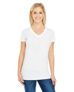 Ladies Pigment-Dye Short-Sleeve V-Neck T-Shirt