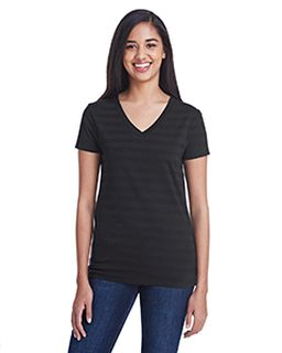 Ladies Invisible Stripe V-Neck T-Shirt-