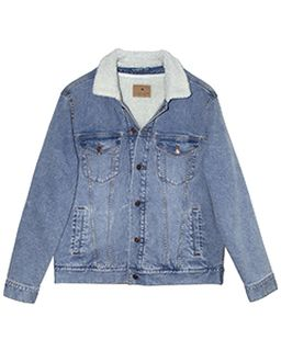 Unisex Sherpa-Lined Denim Jacket-