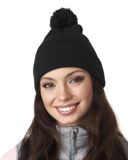 Adult Knit Pom-Pom Beanie With Cuff-UltraClub