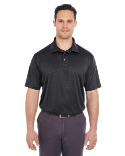 Mens Cool & Dry Jacquard Stripe Polo-UltraClub