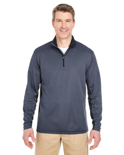 Adult Two-Tone Keyhole Mesh Quarter-Zip Pullover-UltraClub