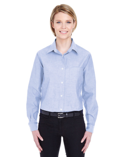 Ladies Long-Sleeve Performance Pinpoint-