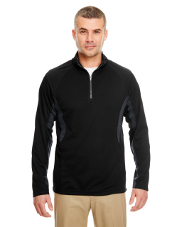 Adult Cool & Dry Colorblock Dimple Mesh Quarter-Zip Pullover-UltraClub