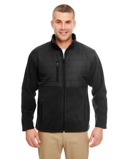 Mens Fleece Jacket With Quilted Yoke Overlay-UltraClub
