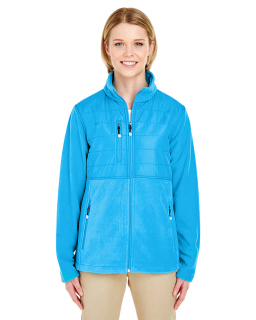 Ladies Fleece Jacket With Quilted Yoke Overlay-UltraClub