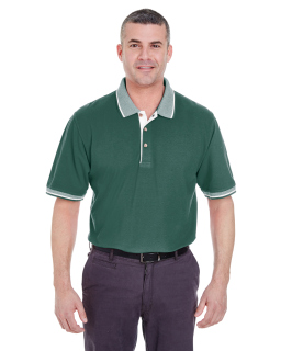 Adult Color-Body Classic Pique Polo With Contrast Multi-Stripe Trim