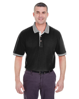 Adult Color-Body Classic Pique Polo With Contrast Multi-Stripe Trim-