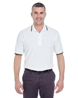 Mens Short-Sleeve Whisper Pique polo With Tipped Collar And Cuffs-UltraClub