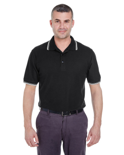 Mens Short-Sleeve Whisper Pique polo With Tipped Collar And Cuffs-