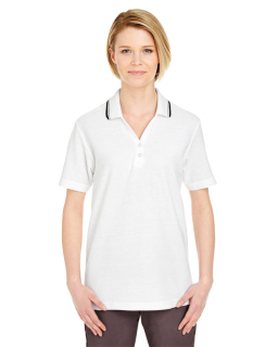 Ladies Short-Sleeve Whisper Pique polo With Tipped Collar-