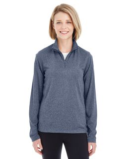 Ladies Cool & Dry Heathered Performance Quarter-Zip-UltraClub