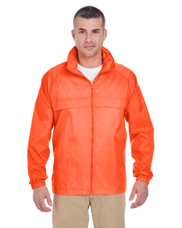 Adult Full-Zip Hooded Pack-Away Jacket-UltraClub