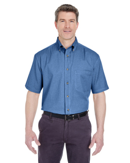 Adult Cypress Short-Sleeve Denim With Pocket-UltraClub