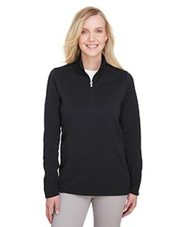 Ladies Coastal Pique Fleece Quarter-Zip-UltraClub