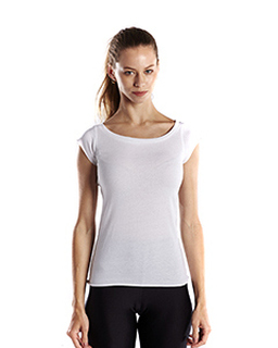 Ladies 3.8 Oz. Cap Sleeve Raw Edge Open Neck