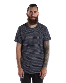 Mens 6 Oz. True Indigo Striped Crew-