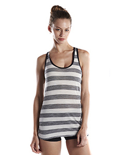 Ladies 3.8 Oz. Striped Slub Racer Tank-