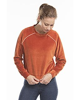 Ladies Velour Long Sleeve Crop T-Shirt-