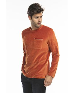 Unisex Velour Long Sleeve Pocket T-Shirt-