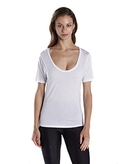 Ladies Short-Sleeve Deep Scoop Neck Blouse-