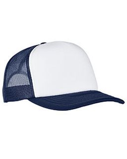 Adult Classics Curved Visor Foam Trucker Cap - White Front Panel-Yupoong