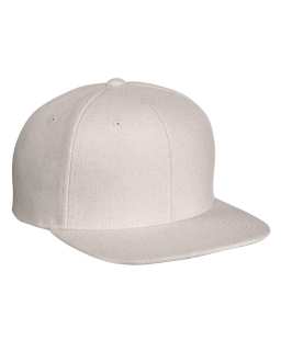 Adult 6-Panel Melton Wool Structured Flat Visor Classic Snapback Cap-Yupoong